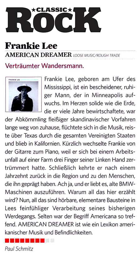 Frankie Lee - Classic Rock Germany - Nov 2015
