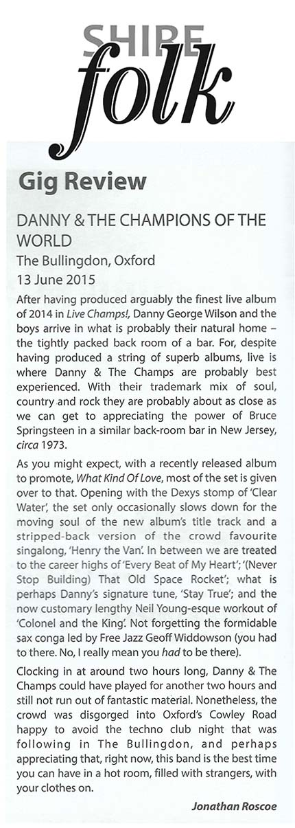 Danny & The Champions  - Shire Folk - Sep 2015