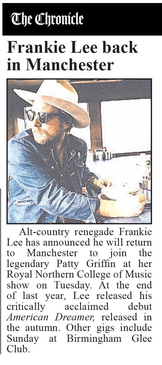 Frankie Lee - Cheshire Chronicle - 21 January 2016