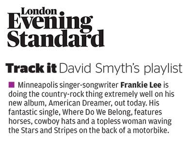 Frankie Lee - Evening Standard - 2 Oct 2015