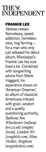 Frankie Lee - The Independent - 21 November 2015