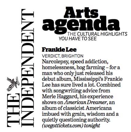Frankie Lee - The Independent - 25 November 2015