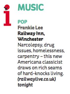 Frankie Lee - The Independent i - 21 November 2015