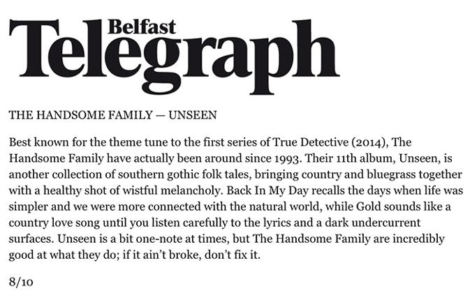 The Handsome Family - Belfast Telegraph - September 2016