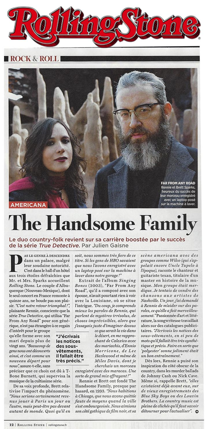 Handsome Family - Rolling Stone France - October 2015