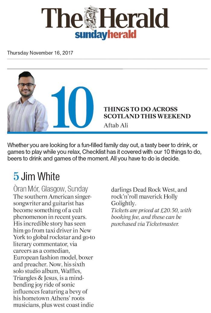 Jim White - The Scottish Herald - 16 November 2017