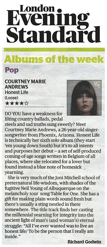 Courtney Marie Andrews - Evening Standard - 20 Jan 2017