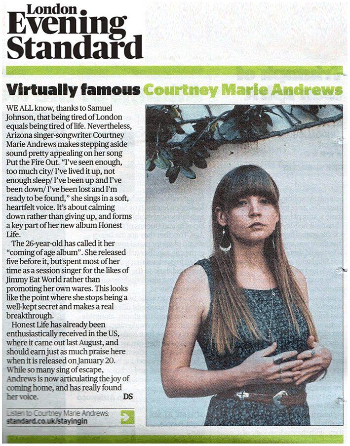 Courtney Marie Andrews - London Evening Standard - 6 Jan 2017