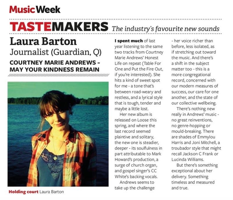 Laura Barton / Courtney Marie Andrews - Music Week - 19 Feb 2018
