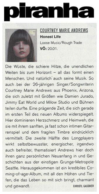 Courtney Marie Andrews - Piranha magazine Germany - Jan 2017