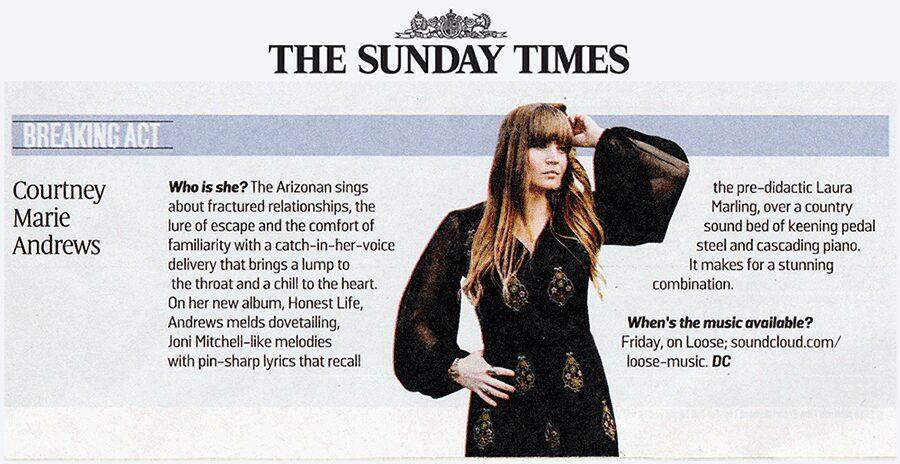 Courtney Marie Andrews - SundayTimes - 15 January 2017