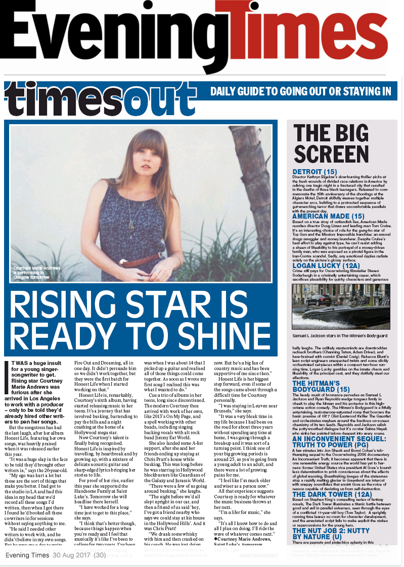 Courtney Marie Andrews - Glasgow Evening Times - August 2017