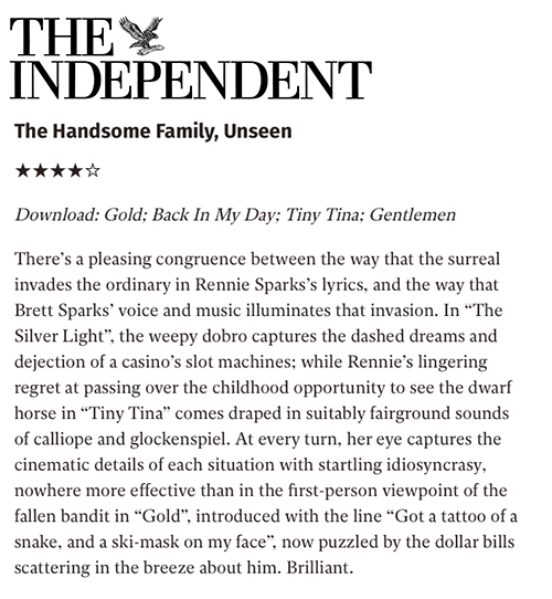 The Handsome Family - The Indpendent - 15 September 2016