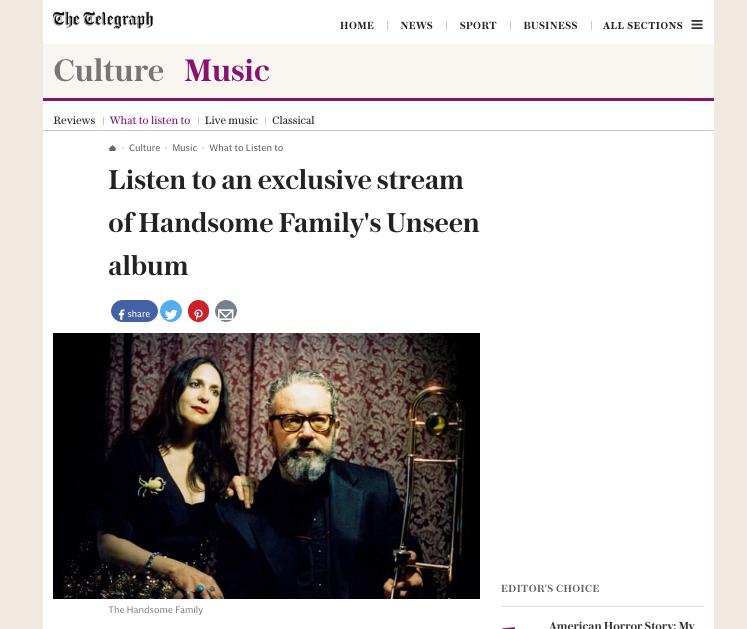 The Handsome Family - The Telegraph - 15 September 2016