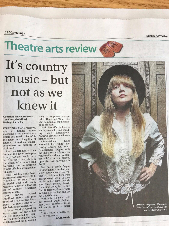 Courtney Marie Andrews - Surrey Advertiser 17 March 2017