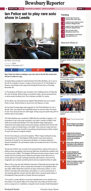 Ian Felice - Dewsbury Reporter - 14 November 2017