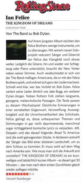 Ian Felice - Rolling Stone Germany - September 2017