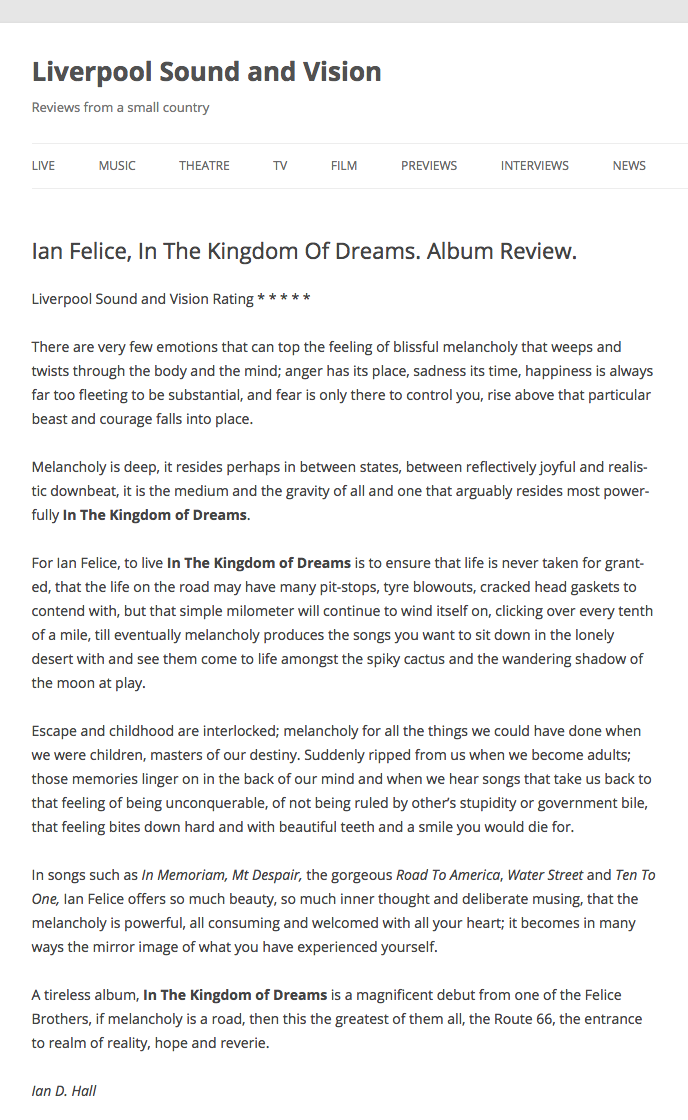 Ian Felice - Liverpool Sound and Vision - August 2017