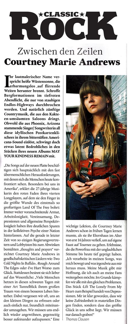 Courtney Marie Andrews - Classic Rock Deutschland - March 2018