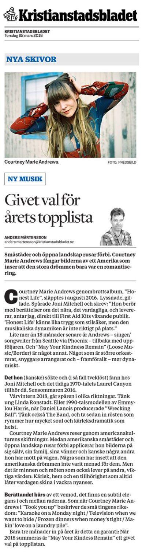 Courtney Marie Andrews - Kristianstadsbladet - 22 March 2018