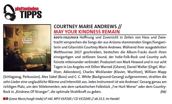 Courtney Marie Andrews - Plattenladentipps - March 2018