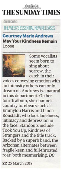 Courtney Marie Andrews - Sunday Times - 25 March 2018