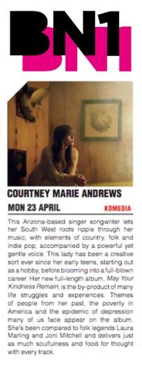 Courtney Marie Andrews  BN1 Magazine - April 2018