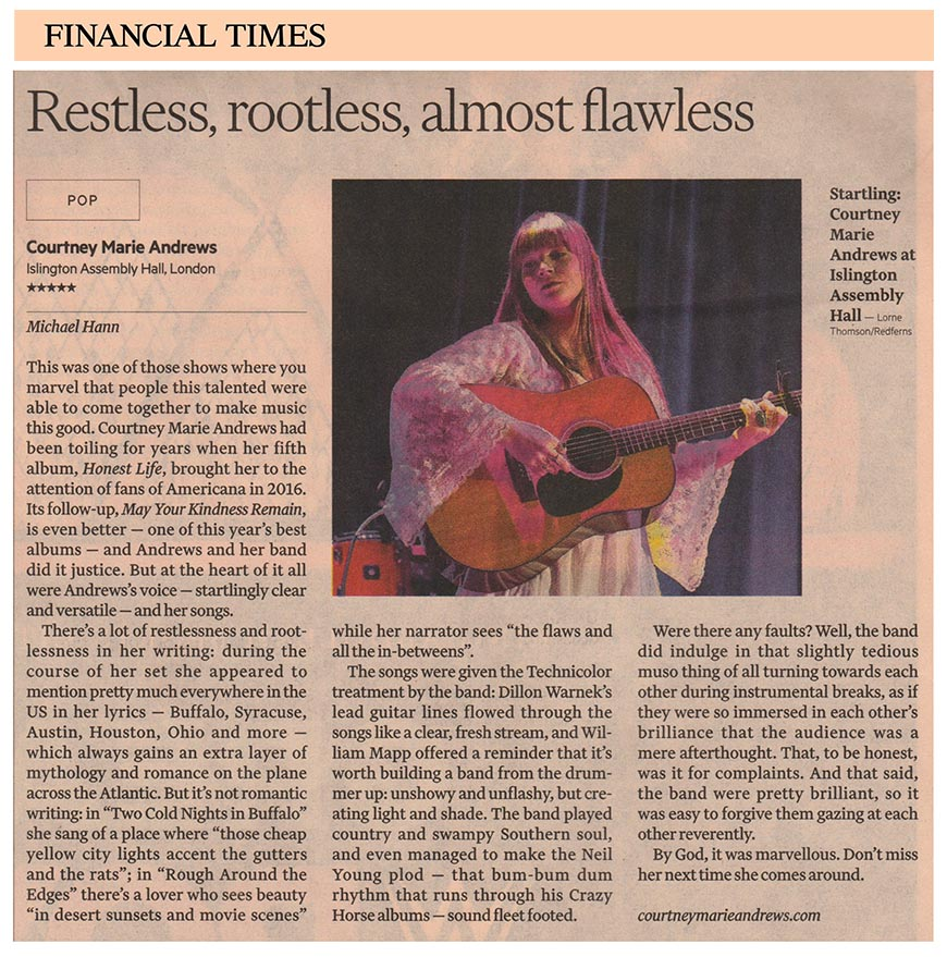 Courtney Marie Andrews  - Financial Times - 26 April 2018
