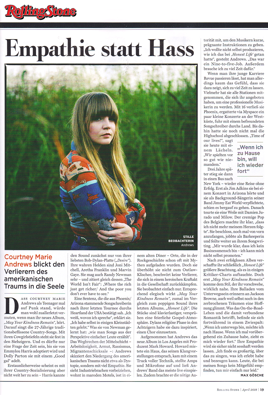 Courtney Marie Andrews - Rolling Stone Deutschland - 29 March 2018