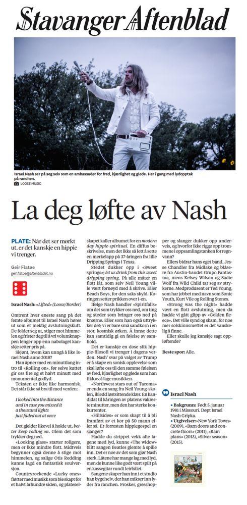 Israel Nash - Stavanger Aftenblad - 27:7:2018