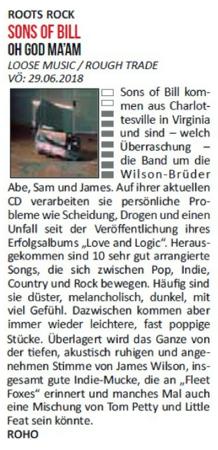Sons Of Bill - Rock City News - 19th July 2018