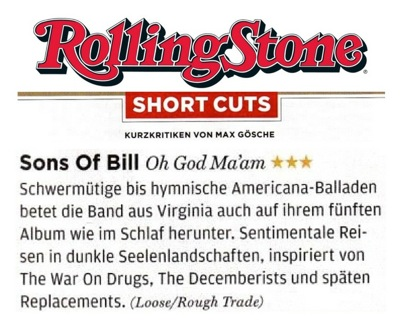 Sons Of Bill - Rolling Stone - 19 July 2018