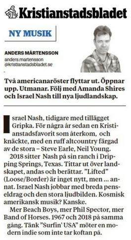 Israel Nash - KRISTIANSTADSBLADET- 3 Aug 2018