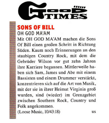 Sons Of Bill - Good Times - 31 July 2018