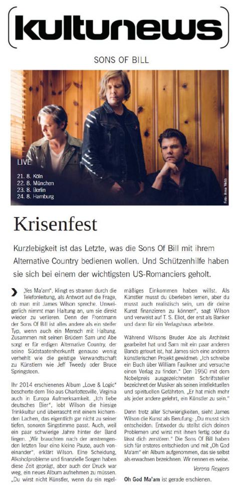 Sons Of Bill - Kulturnews - 31 July 2018