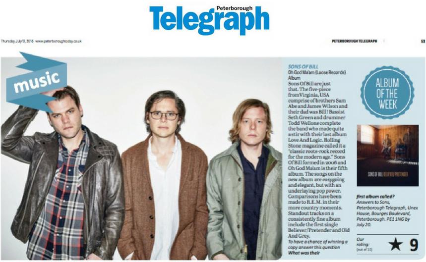 Sons Of Bill - Peterborough Telegraph - 12 July 2018