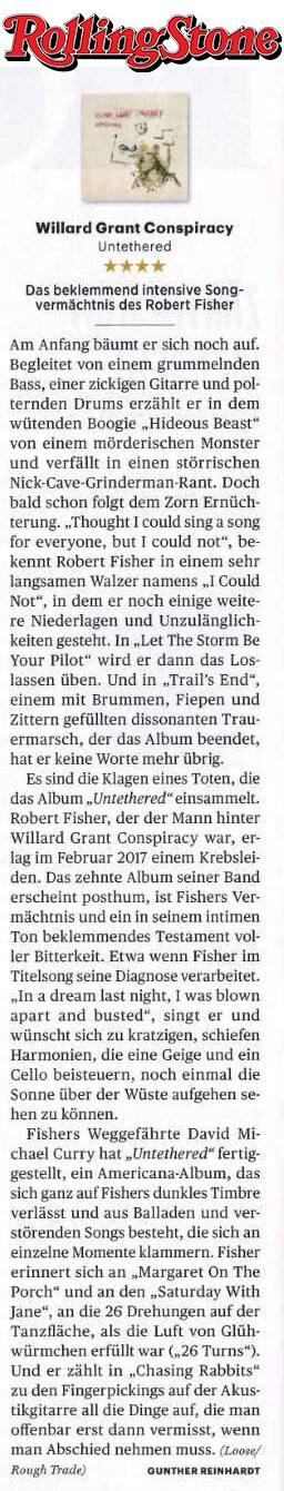 Willard Grant Conspiracy -  Rolling Stone Germany -  December 2019