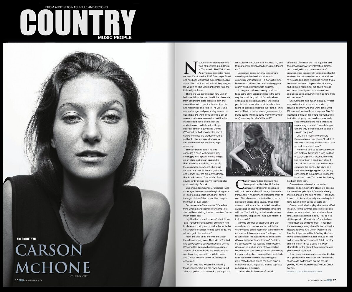 Carson McHone -  Country Music People - January 2019
