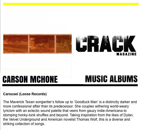 Carson McHone - Crack Magazine - January 2019