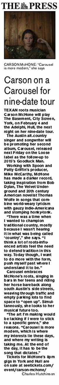 Carson McHone - York Press -  January 2019