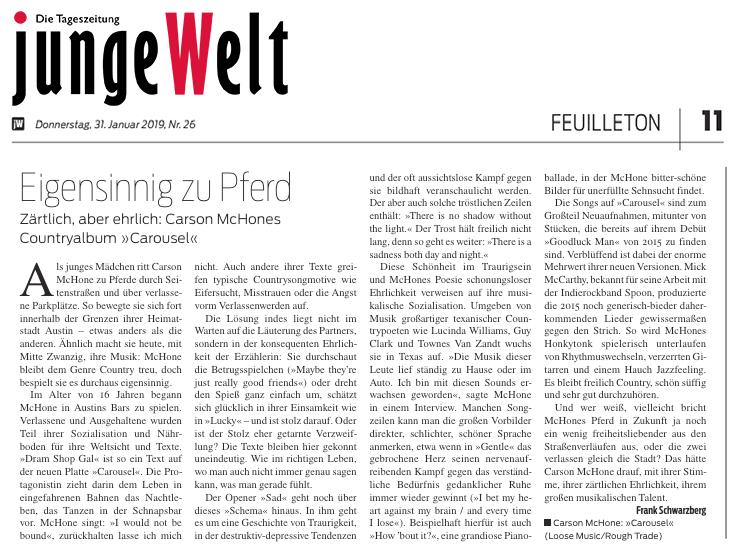Carson McHone - Junge Welt - February 2019