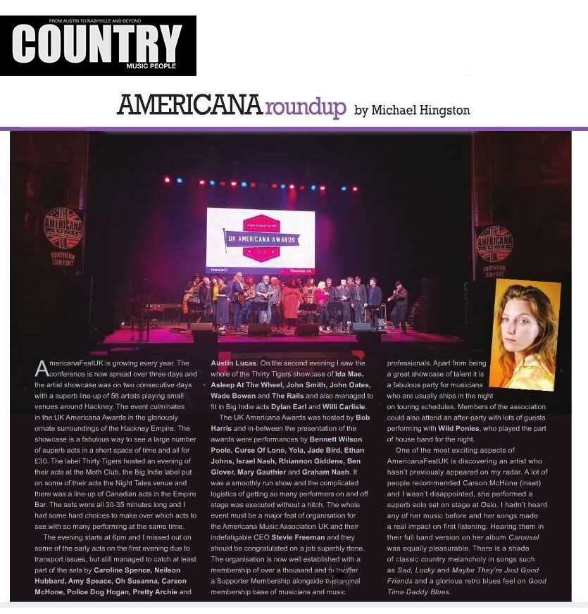 Carson McHone - Country Music People - February2019