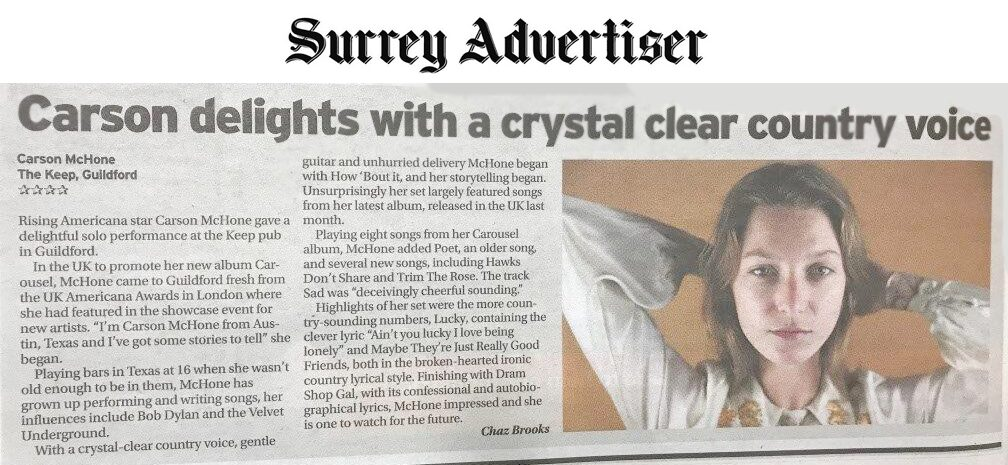 Carson McHone - Surrey Advertiser - February2019