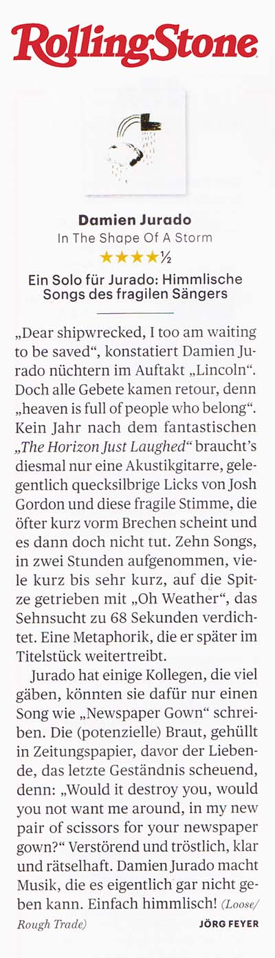 Damien Jurado - Rolling Stone Germany - 28 March 2019