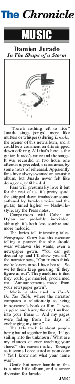 Damien Jurado, Cheshire Chronicle, April 2019