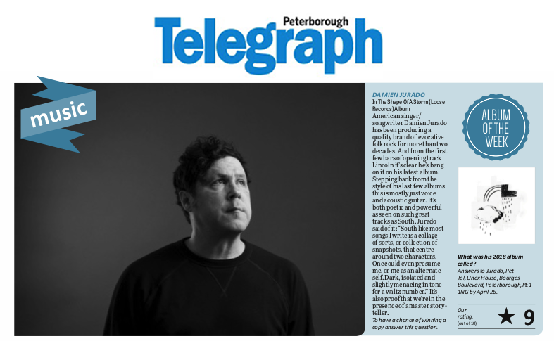 Damien Jurado, Peterborough Telegraph, April 2019