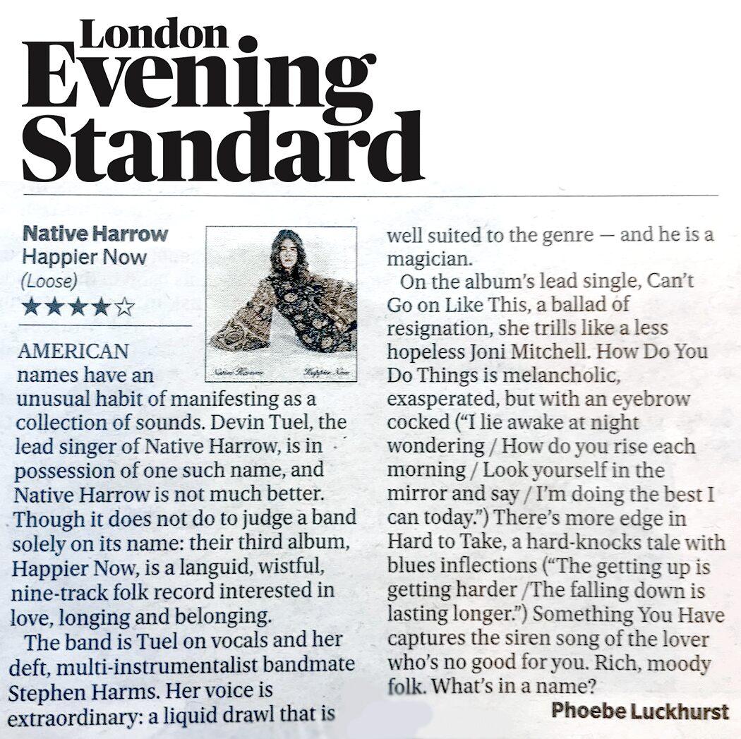 Native Harrow, Evening Standard, 2nd August 2019