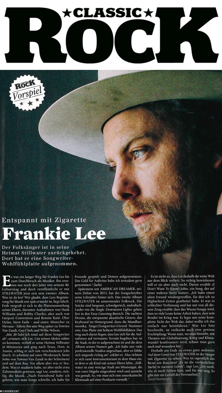 Frankie Lee, Classic Rock, July August 2019