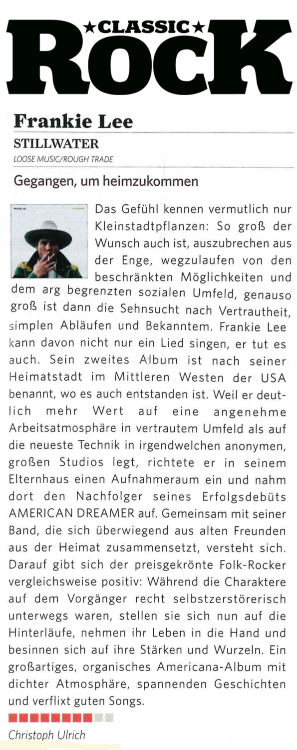 Frankie Lee, Classic Rock Review, July Aug 2019
