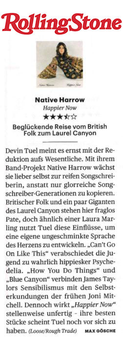 Native Harrow, Rolling Stone Germany, August September 2019